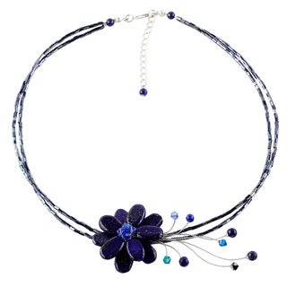 Midnight Sea Blue Crystal and Lapis Lazuli Gemstone Flower on Beaded Wire Adjustable Womens Fashion