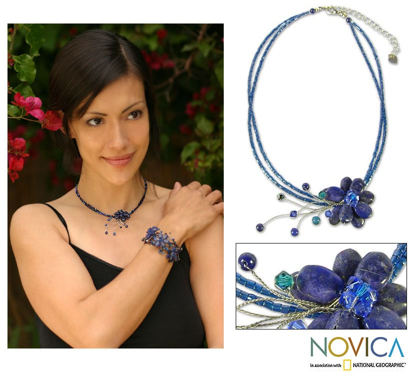 Midnight Sea Blue Crystal and Lapis Lazuli Gemstone Flower on Beaded Wire Adjustable Womens Fashion Choker Necklace (Thailand)