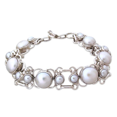 Clarity Perfect Bridal Fluid Toggle Clasp Round White Freshwater Pearls 925 Sterling Silver Modern