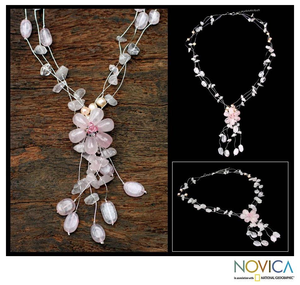 Rose Quartz and Pearl 'Fantasy' Necklace (Thailand)