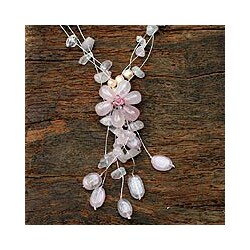 Rose Quartz and Pearl 'Fantasy' Necklace (Thailand)