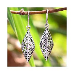 Handmade Sterling Silver 'Forest Star' Dangle Earrings (Thailand)
