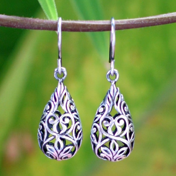 Handmade Forest Tear Double Sided Arabesque Open Work 925 Sterling Silver Womens Drop Earrings (Thailand)