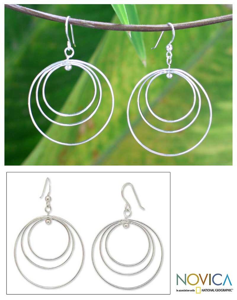 Sterling Silver 'Inner Circle' Earrings (Thailand)
