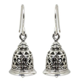 Handmade Sterling Silver Temple Bell Chandelier Style Earrings (Thailand)