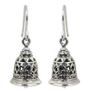 Handmade Sterling Silver Temple Bell Chandelier Style Earrings (Thailand)