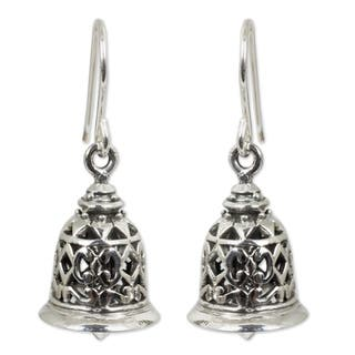 Handmade Sterling Silver Temple Bell Chandelier Style Earrings Thailand