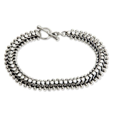 Handmade Unique Link .925 Sterling Silver Bracelet with Toggle Closure (Bali)
