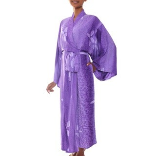 Handmade Womens Kissed by Violet Rayon Batik Robe (Indonesia)