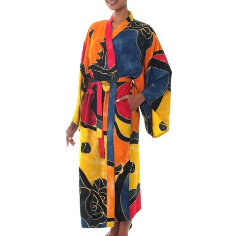 Paradise Peacock Handmade Artisan Designer Women's Clothing Fashion Yellow Gold Red Blue Black Batik Bath Robe (Indonesia)