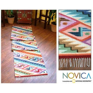 Rainbow Cascade Zigzag with Butterfly Motifs Multicolor Handwoven Artisan Wool and Cotton Floor Runner Rug (Peru) - 2' x 10'