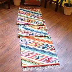Rainbow Cascade Zigzag with Butterfly Motifs Multicolor Handwoven Artisan Wool and Cotton Floor Runner Rug (Peru)