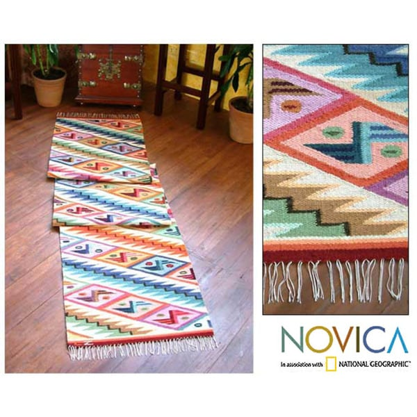 Rainbow Cascade Zigzag With Erfly Motifs Multicolor Handwoven Wool And Cotton Floor Runner Rug