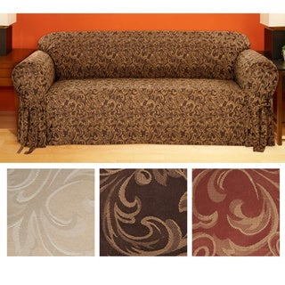 Catherine Round-arm Jacquard Loveseat Slipcover