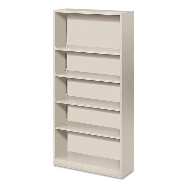 HON Four-Shelf Metal Bookcase (Light Gray)
