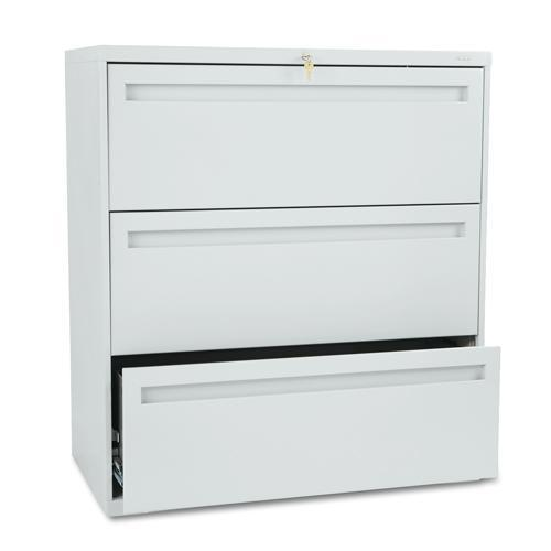 Hon 700 Series 36 Inch Wide Three Drawer Lateral File Gray Cabinet