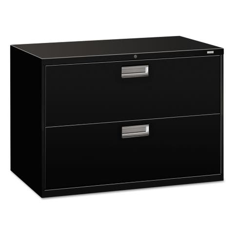 HON 600 Series 42-inch Wide 2-drawer Black Lateral File Cabinet
