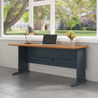 Bush Business Furniture Series A 72W Desk in Natural Cherry and Slate - Black