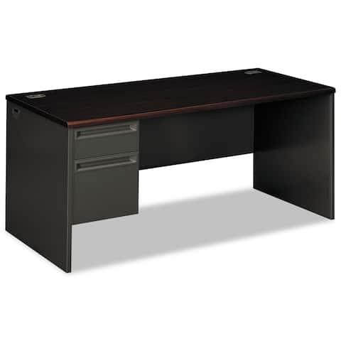 HON 38000 Series Charcoal/Mahogany Left Pedestal Desk
