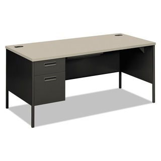 HON Metro Classic Series Grey Patterned/ Charcoal Left Pedestal Desk