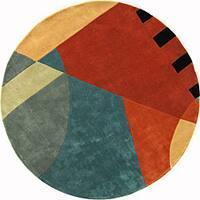 "Safavieh Handmade Rodeo Drive Modern Abstract Blue/ Rust Wool Rug - 5'9"" x 5'9"" round"