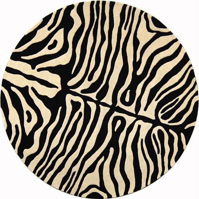 Safavieh Handmade Soho Zebra Print Charcoal Beige N Z Wool Rug 6 X27