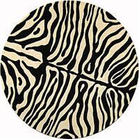 Safavieh Handmade Soho Zebra Print Charcoal/Beige N. Z. Wool Rug (6' Round) - 6'