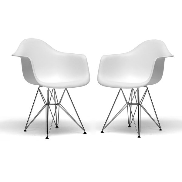 Mid-Century White Plastic Dining Chair 2-Piece Set by Baxton Studio