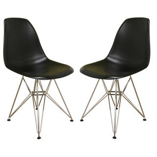 Mid-Century Black Plastic Dining Chair 2-Piece Set by Baxton Studio