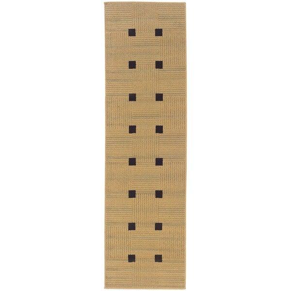StyleHaven Basket Weave Beige/Black Indoor-Outdoor Area Rug (2'3x7'6)