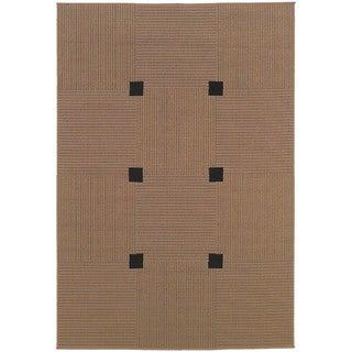 """StyleHaven Basket Weave Beige/Black Indoor-Outdoor Area Rug (5'3x7'6) - 5'3"""" x 7'6"""""""