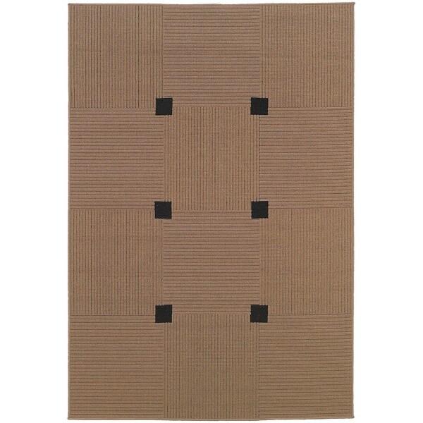 StyleHaven Basket Weave Beige/Black Indoor-Outdoor Area Rug - 7'3 x 10'6