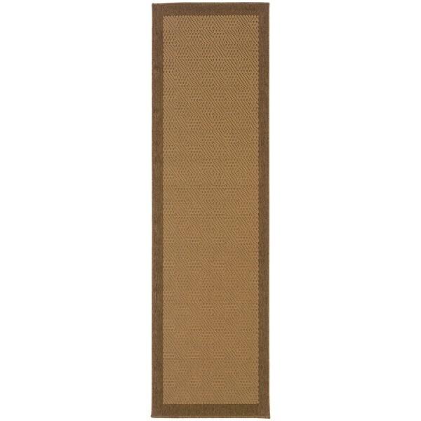 """StyleHaven Borders Beige/Brown Indoor-Outdoor Area Rug (2'3x7'6) - 2'3"""" x 7'6"""""""