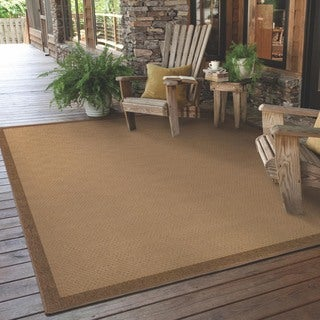 StyleHaven Borders Beige/Brown Indoor-Outdoor Area Rug (5'3x7'6)