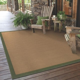 StyleHaven Borders Beige/Green Indoor-Outdoor Area Rug (5'3x7'6)