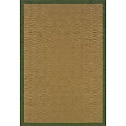 Textured Beige/ Green Indoor/ Outdoor Rug (7'3 x 10'6)