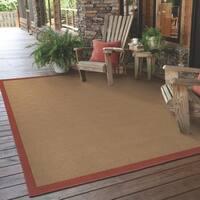 """StyleHaven Borders Beige/Red Indoor-Outdoor Area Rug (3'7x5'6) - 3'7"""" x 5'6"""""""
