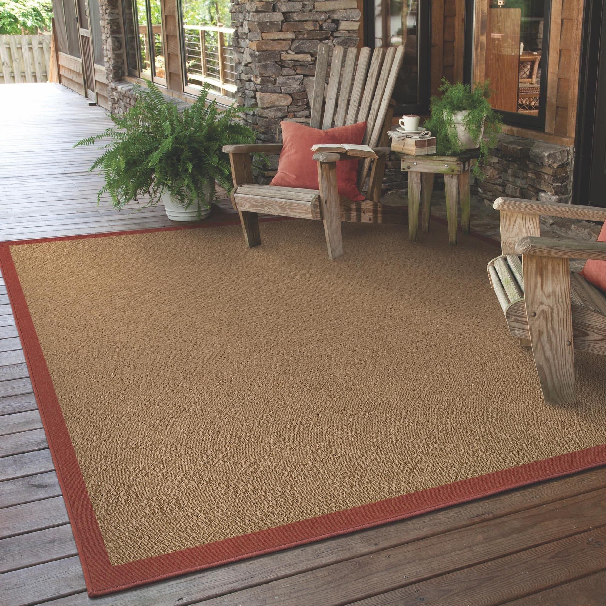 Beige Red Indoor Outdoor Area Rug