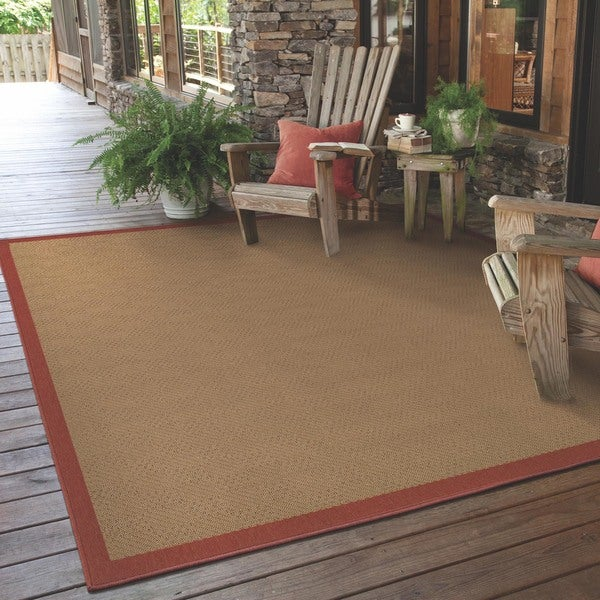 StyleHaven Borders Beige/Red Indoor-Outdoor Area Rug - 7'3x10'6