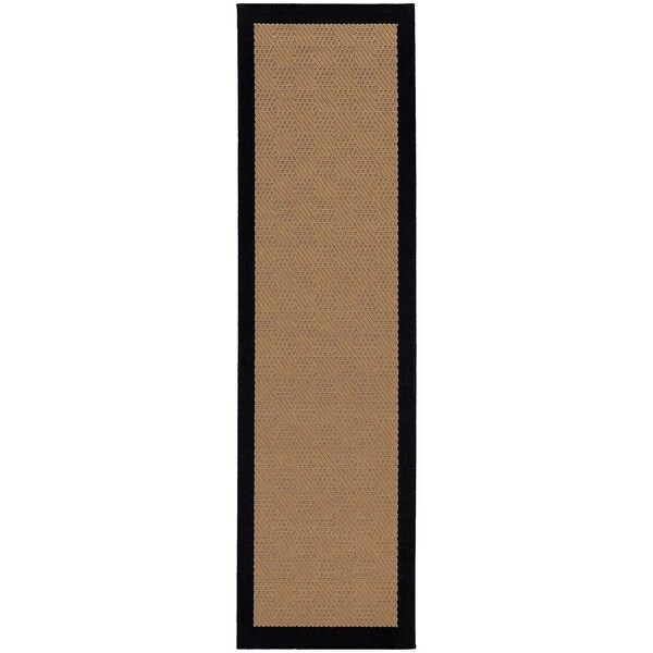 StyleHaven Borders Beige/Black Indoor-Outdoor Area Rug (2'3x7'6)
