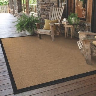 StyleHaven Borders Beige/Black Indoor-Outdoor Area Rug (3'7x5'6)