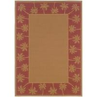 """StyleHaven Palm Borders Beige/Red Indoor-Outdoor Area Rug (3'7x5'6) - 3'7"""" x 5'6"""""""