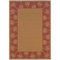 """StyleHaven Palm Borders Beige/Red Indoor-Outdoor Area Rug (5'3x7'6) - 5'3"""" x 7'6"""""""