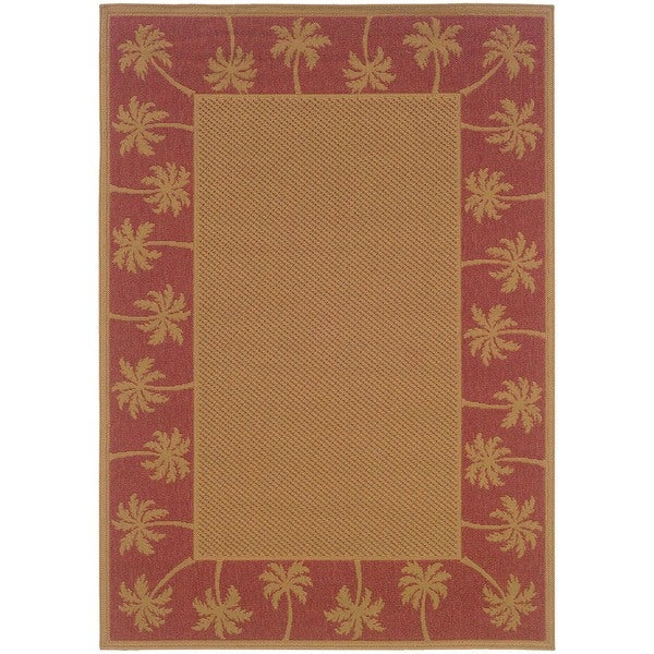 Shop Stylehaven Palm Borders Beige Red Indoor Outdoor Area