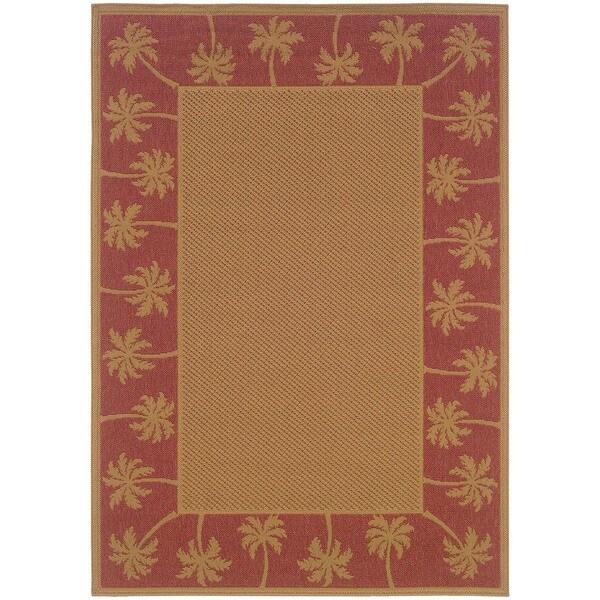 """StyleHaven Palm Borders Beige/Red Indoor-Outdoor Area Rug (7'3x10'6) - 7'3"""" x 10'6"""""""