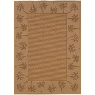 StyleHaven Palm Borders Beige/Tan Indoor-Outdoor Area Rug (5'3x7'6)