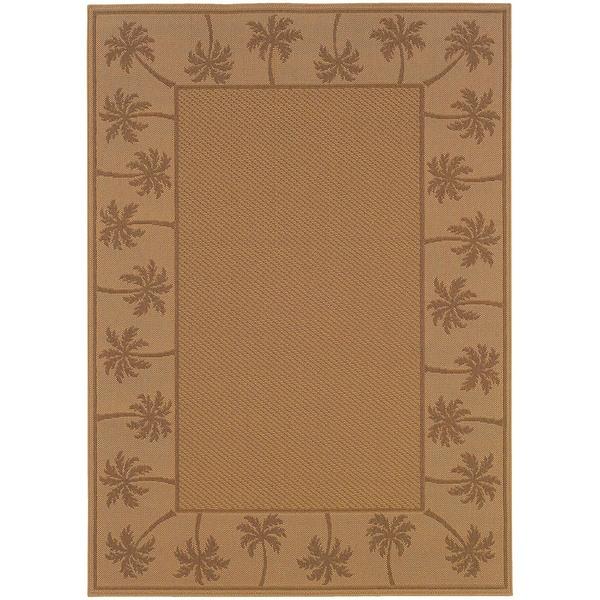 StyleHaven Palm Borders Beige/Tan Indoor-Outdoor Area Rug (7'3x10'6) - 7'3 x 10'6