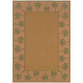 StyleHaven Palm Borders Beige/Green Indoor-Outdoor Area Rug (5'3x7'6)