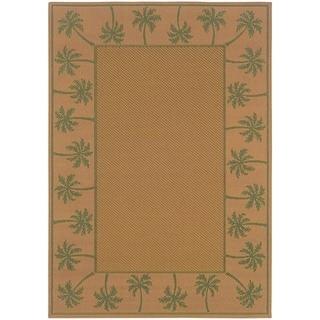 StyleHaven Palm Borders Beige/Green Indoor-Outdoor Area Rug (7'3x10'6)