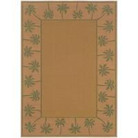 """StyleHaven Palm Borders Beige/Green Indoor-Outdoor Area Rug (7'3x10'6) - 7'3"""" x 10'6"""""""